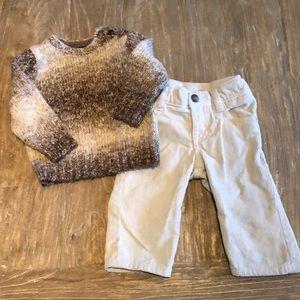 Super cute Baby Gap Knot Sweater & Pant set 6-12m